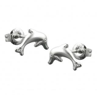 Stecker 10x5mm springender Delfin matt-glänzend rhodiniert Silber 925