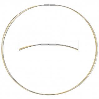 Halsreif 5-reihig bicolor vergoldet 42 cm Halskette Kette