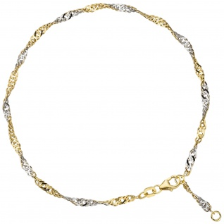 Fußkettchen Fußkette 925 Sterling Silber gold vergoldet 2, 9 mm 25 cm Karabiner