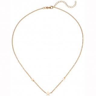 Collier Halskette mit Anhängern Sterne 925 Silber rotgold vergoldet 43 cm