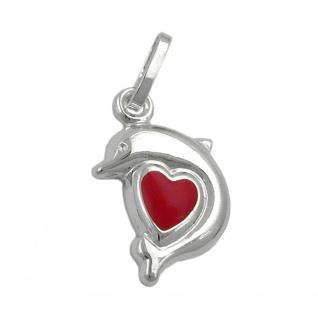 Anhänger 12x9mm Delfin Herz rot lackiert Silber 925