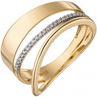 Damen Ring breit mehrreihig 585 Gold Gelbgold 24 Diamanten Brillanten Goldring