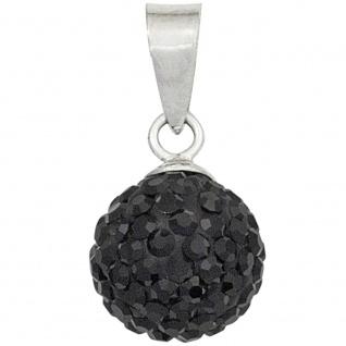 Anhänger Kugel 925 Sterling Silber rhodiniert mit Kristallen schwarz