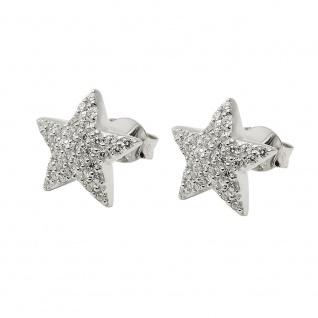 Ohrstecker Ohrring 10x10mm Stern Zirkonias weiß rhodiniert Silber 925