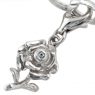 Einhänger Charm Rose 925 Sterling Silber rhodiniert 1 Zirkonia