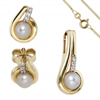 Schmuck-Set 333 Gold Gelbgold Perlen Zirkonia Ohrringe und Kette 45 cm