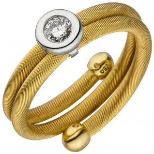 Damen Ring 750 Gelbgold Weißgold bicolor matt 1 Diamant Brillant - Vorschau