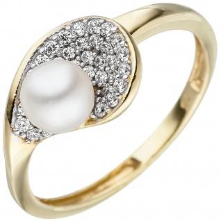 Damen Ring 375 Gold Gelbgold 1 Süßwasser Perle 36 Zirkonia Perlenring