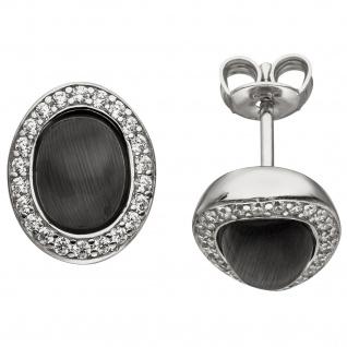 Ohrstecker oval 925 Sterling Silber 2 Mondstein-Imitationen 44 Zirkonia Ohrringe