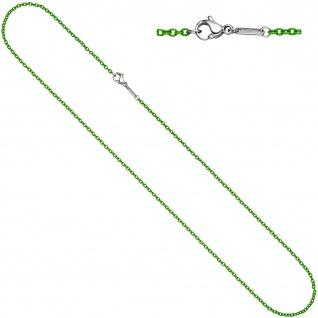 Rundankerkette Edelstahl grün lackiert 42 cm Kette Halskette Karabiner