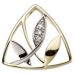 Anhänger 585 Gold Gelbgold Weißgold bicolor 3 Diamanten Brillanten 0, 03ct.