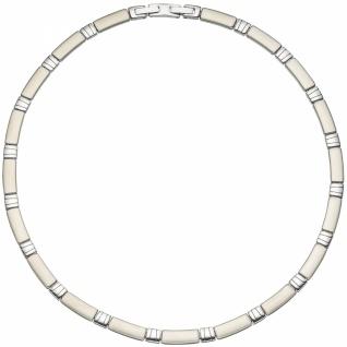 Collier Halskette Halsreif Edelstahl teil matt 47 cm Kette - Vorschau