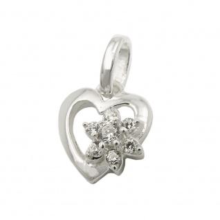 Anhänger 9x9mm Herz mit Blume aus Zirkonias Silber 925