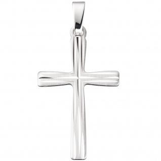 Anhänger Kreuz 585 Gold Weißgold teil matt Kreuzanhänger Weißgoldkreuz