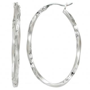 Creolen oval 925 Sterling Silber mattiert Ohrringe Silberohrringe Silbercreolen
