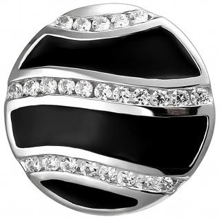 Anhänger 925 Sterling Silber mit schwarzer Emaille und 24 Zirkonia