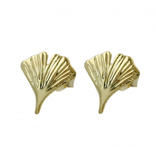 Ohrstecker Ohrring 12mm Ginkgoblatt glänzend 9Kt GOLD
