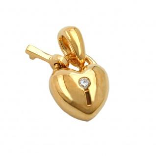 Anhänger 11x9mm Herz Schloss mit Schlüssel Zirkonia vergoldet 3 Mikron