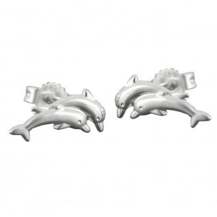 Stecker 11x5mm Delfin-Pärchen matt-glänzend Silber 925