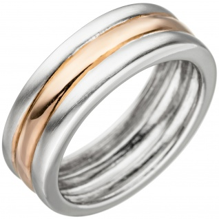 Damen Ring 925 Sterling Silber bicolor vergoldet teil matt