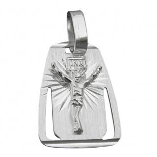 Anhänger 18x13mm Platte mit Jesus matt-glänzend diamantiert Silber 925
