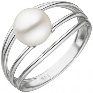 Damen Ring 585 Gold Weißgold 1 Süßwasser Perle Perlenring