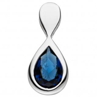 Anhänger Tropfen 925 Sterling Silber 1 Glasstein blau