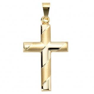 Anhänger Kreuz 333 Gold Gelbgold teil matt diamantiert Kreuzanhänger Goldkreuz