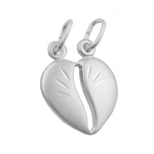 Anhänger 14x12mm Doppelanhänger teilbares Herz matt Silber 925