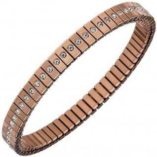 Armband Edelstahl rotgold farben beschichtet mit Zirkonia rundum 21 cm flexibel