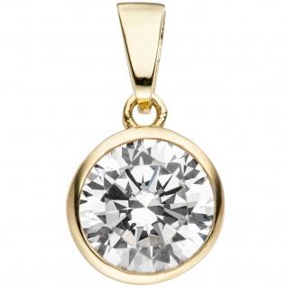 Anhänger Kettenanhänger rund 925 Sterling Silber gold vergoldet 1 Zirkonia