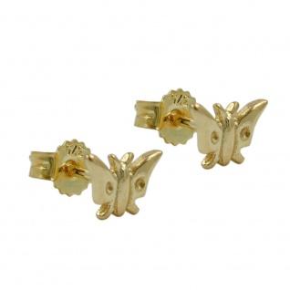 Stecker 5x7mm Schmetterling glänzend 9Kt GOLD