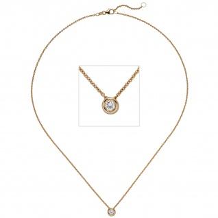 Collier Kette mit Anhänger 585 Gold Rotgold 1 Diamant Brillant 0, 15 ct. 45 cm