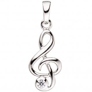 Kinder Anhänger Notenschlüssel Musik 925 Silber 1 Zirkonia Kinderanhänger