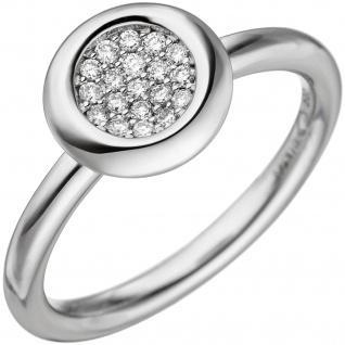 Damen Ring 585 Gold Weißgold 19 Diamanten Brillanten 0, 15ct. Diamantring