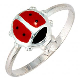 Kinder Ring Marienkäfer 925 Sterling Silber Lackeinlage rot schwarz Kinderring
