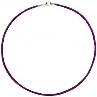 Collier Halskette Seide pflaume 42 cm, Verschluss 925 Silber Kette