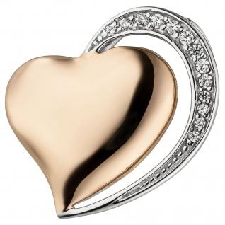 Anhänger Herz 925 Sterling Silber bicolor vergoldet 13 Zirkonia Herzanhänger - Vorschau