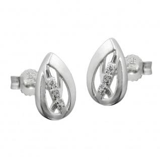 Stecker 10x7mm mit Zirkonias matt-glänzend Silber 925