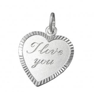Anhänger 20x17mm Herz mit Gravur -I love you- Silber 925