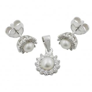 Set mit 7mm Stecker und 9mm Anhänger Perle mit Zirkonias glänzend Silber 925