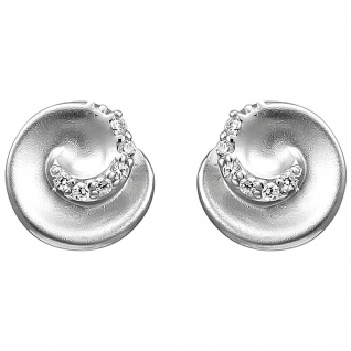 Ohrstecker 925 Sterling Silber matt 12 Zirkonia Ohrringe Silberohrringe - Vorschau