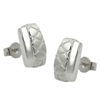 Stecker 10x6mm Viereck Waffelmuster matt-glänzend Silber 925
