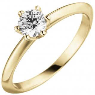 Damen Ring 585 Gold Gelbgold 1 Diamant Brillant 0, 70 ct. Diamantring Solitär - Vorschau