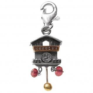Einhänger Charm Kuckucksuhr 925 Sterling Silber 2 Granate