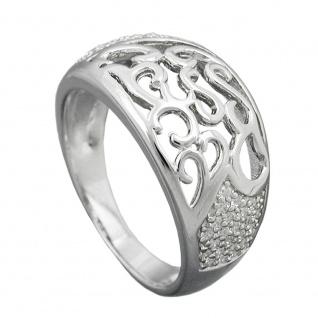 Ring 10mm mit Zirkonias glänzend rhodiniert Silber 925 Ringgröße 58