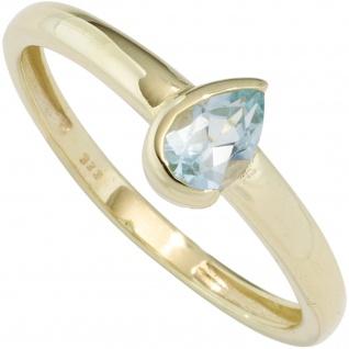 Damen Ring 333 Gold Gelbgold 1 Blautopas hellblau blau Goldring