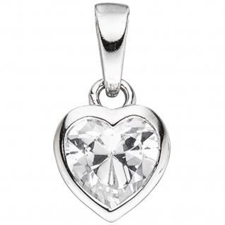 Kinder Anhänger Herz 925 Sterling Silber 1 Zirkonia Herzanhänger Kinderanhänger