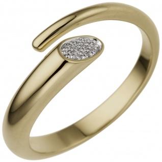 Damen Ring offen 585 Gold Gelbgold 10 Diamanten Brillanten