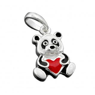 Anhänger 13x9mm Panda Bär farbig lackiert Silber 925
